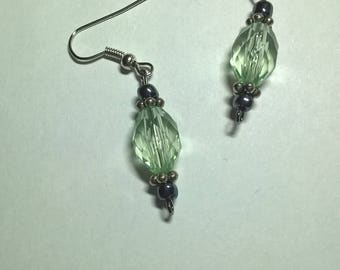 Light Green Crystal Bead Earrings