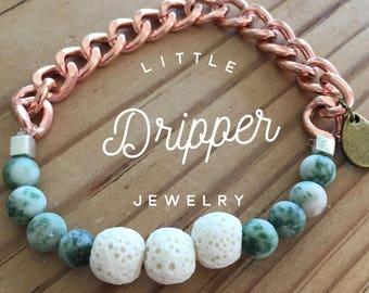 Rose gold & Jade Diffuser Bracelet