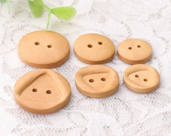 10pcs light brown wood buttons 2 holes sewing wooden buttons triangle buttons for coat shirt 3size 15mm 18mm 23mm