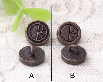 A or B round metal buttons 10pcs 10*6mm small buttons zinc alloy buttons copper shank buttons clothing accessories