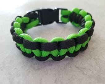 Green and Black Paracord Bracelet