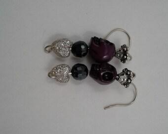 Day of the Dead earrings, purple skulls