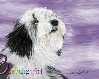 Hand-drawn Bearded Collie puppy greeting card, on a lavender/white/purple background.
