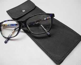 Black Nubuck Leather Glasses Case
