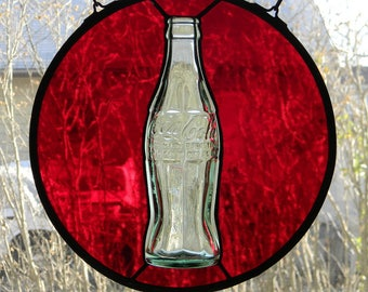 Stained Glass Suncatcher with Vintage Coca Cola Bottle
