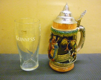 Vintage German Beer Stein King 3 Ceramic 20th Century