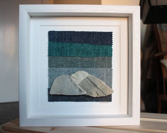 Winter Mountains - Unique, quirky, simple yet stylish mixed media collage.  Framed.  Great gift.