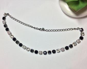 Skyline Jet/Silver Night/Rose Quartz Crystal Necklace
