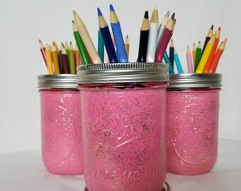 Pink/Gold Glitter Mason Jar