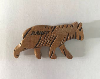 1950s Wooden Bear Banff Brooch