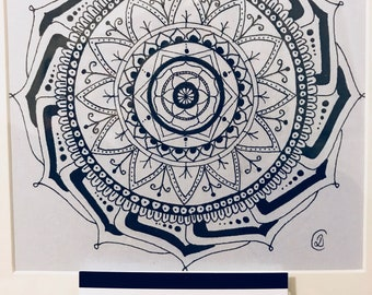 Hand drawn framed Mandala in indian ink