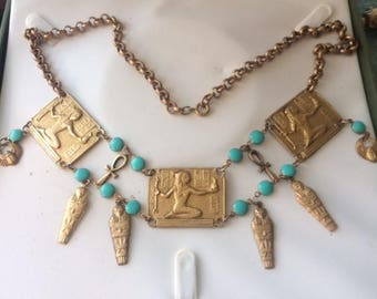 Vintage Egyptian Revival Necklace with Goddess Decoration and Turquoise Enamel Stone