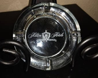 """Vintage Hilton Hotels """"Around The World"""" Clear Glass Ash Tray"""