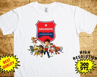 Paw Patrol Grandpa, Paw Patrol Iron On Transfer, Paw Patrol Printable DIY Shirt Transfer, Digital Files, Instant Download