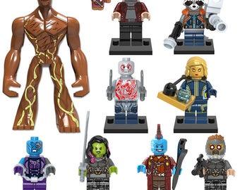 guardians of the galaxy minifigures set of 10 figures,groot,racoon,yondu,gamora, etc