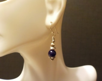 Cobalt Blue Glass and Silver Bead with Sterling Silver Accent Earrings