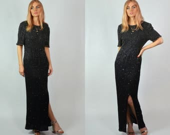 Vintage Black Sequin / Beaded Gatsby Floor Length Evening Dress