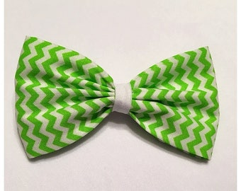 St. Patrick's Day Hairbow, Small Lime Green Chevron Hairbow, Hairbow, Lime Green Hairbow, Chevron Hairbow, Bows, Bowtie, SozBows