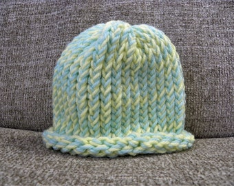 Baby Blue and Yellow Baby's Knit Hat