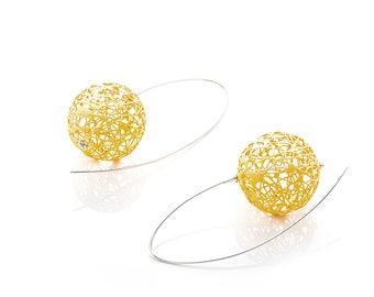 14k Gold Plated, Sterling Silver Ball Earrings