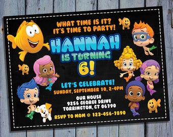 Bubble Guppies Birthday Invitation, Guppies Girl Party Card Invite, Girls Printable Digital Invitations, Custom Guppy Printables
