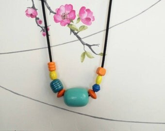 Handpainted Wooden Beaded Necklace