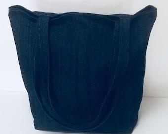 Blue denim tote bag-Denim tote bag -Lined tote bag-Tote bag with pockets