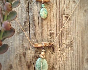 Necklace with two aquamarine stones
