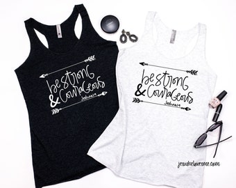 Be strong & courageous joshua 1:9 women's racerback tank top