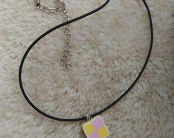 Battenberg slice necklace