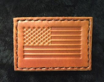 Leather American Flag Patch