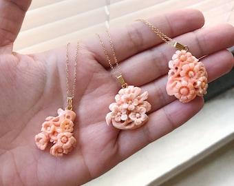 Vintage Hand Carved Coral Necklace 1