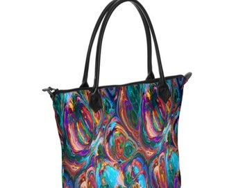 Colorful Paint Strokes Zipper Top Genuine Nappa Italian Leather Handbag