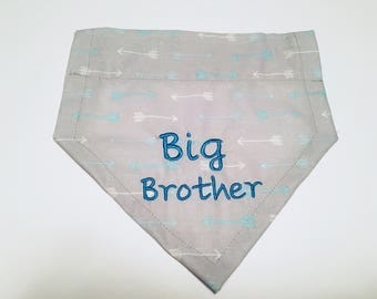 Big Brother, Pregnancy announcement, Dog Bandana,  blue and gray arrows, Baby Announcement,  Over the Collar,  Dog Gift, Dog lovers gift