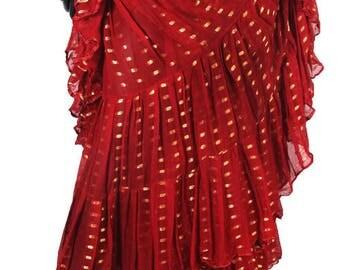 25Yard Red Tribal TyeDyed Gypsy Layer Beautiful ATS Skirt~
