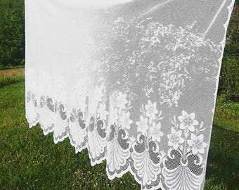 """Large White Lace Window Sheer. White lace floral curtain panel. Vintage White Lace Curtain. 58 x 36"""". Made in USA."""