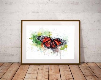 Monarch Butterfly watercolor art , Butterfly art print, Butterfly watercolor art print, Nature Art