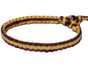Purple and yellow flat hemp bracelet or anklet