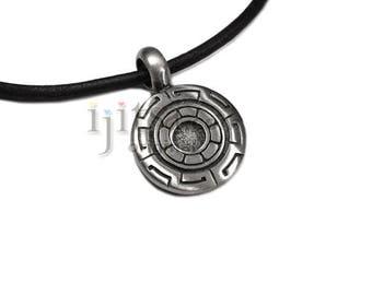Adjustable leather cord pewter greek key pendant