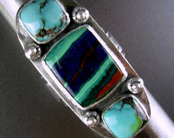 LARGE Rainbow calsilica , turquoise wide handcraft band 925 sterling silver ring Chelle' Rawlsky 9+ gift boxed layaways available on request