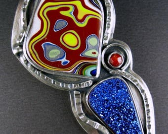 Detroit fordite motown Suzybones, titanium blue drusy by Joe Jelks, dyed agate hidden back bale 925 sterling silver pendant Chelle' Rawlsky