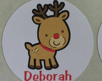 Personalized Christmas Reindeer Stickers for Back to School, Name labels, cards, etc set of 20