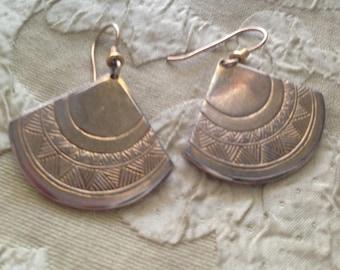 Laurel Burch Golden Sunrise Fan Earrings French Earwires Vintage Jewelry 1980s