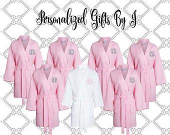 13 Monogrammed Bridesmaids Robes, Set of 13 ,Monogrammed Robe, Waffle Robe, Personalized Bridesmaid Gifts, Thigh Length Kimono Style Robe