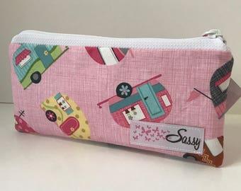 Pink Vintage Campers Fabric Make up Bag, Small Size Cosmetic Bag, Travel Makeup Bag, Lined Makeup Bag