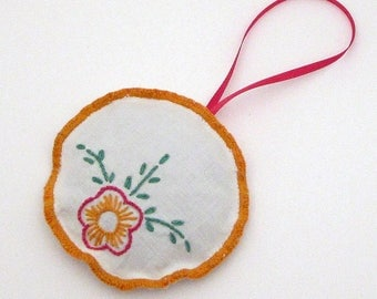 Dried Lavender Sachet - Hanging - Embroidered Sachet - Vintage Linens - Embroidery - Ribbon Loop