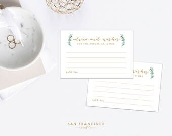Advice and Wishes for the future Mr. and Mrs., Bridal Shower, Couples Shower, Wedding - Eucalyptus, greenery, gold - INSTANT DOWNLOAD PDF