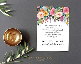 Will you be my MAID of HONOR Card, Maid of Honour | Size A7 or 5x7, Flat and Folded Card | Ashley | Printable PDF, Instant Download