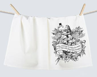 Alice Wonderland Birds of a Feather Flamingo Flour Sack Towel