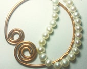 CUSTOM copper ring shawl pin with freshwater pearls